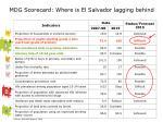 mdg scorecard where is el salvador lagging behind