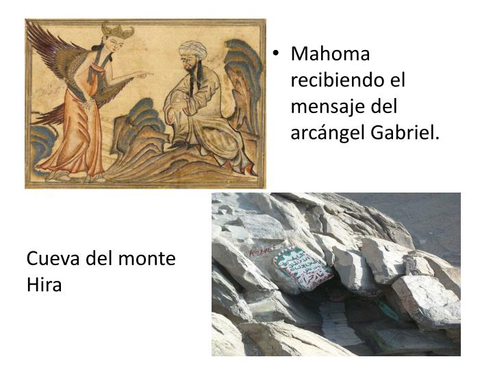 Mahoma recibiendo el mensaje del arcángel Gabriel.