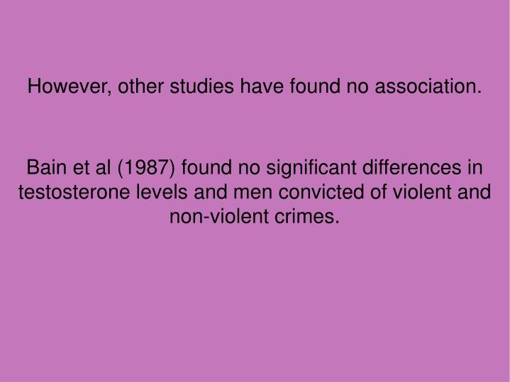 However, other studies have found no association.