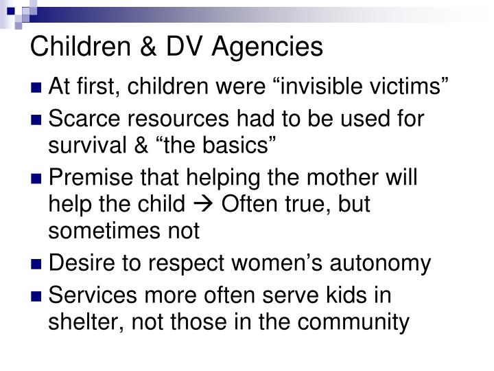 Children & DV Agencies