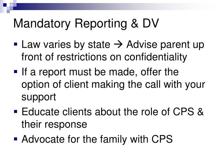 Mandatory Reporting & DV