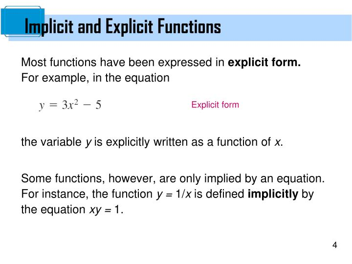 Implicit and Explicit Functions