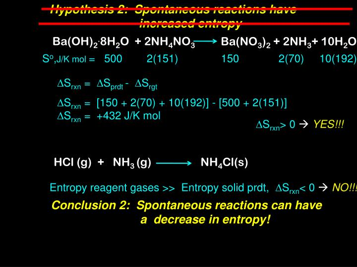 Hypothesis 2:  Spontaneous reactions have
