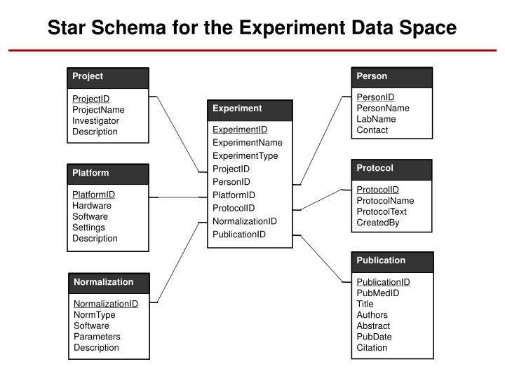 Star Schema for the Experiment Data Space
