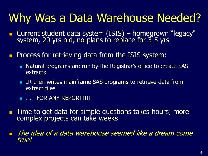 Why Was a Data Warehouse Needed?