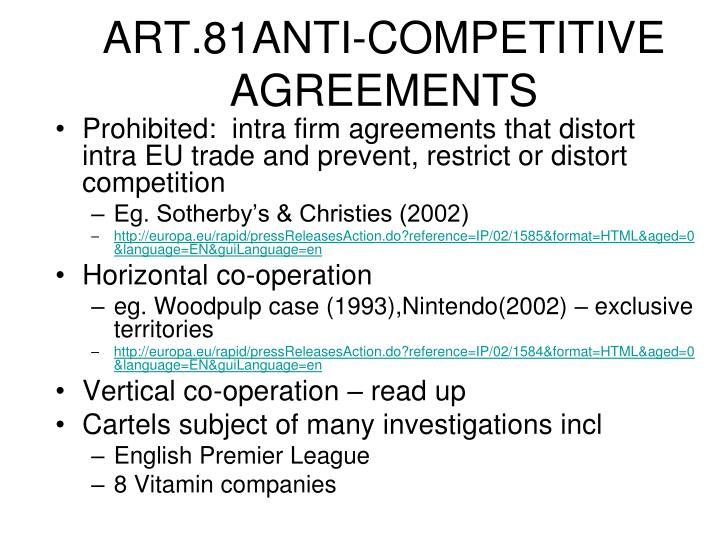 ART.81ANTI-COMPETITIVE AGREEMENTS