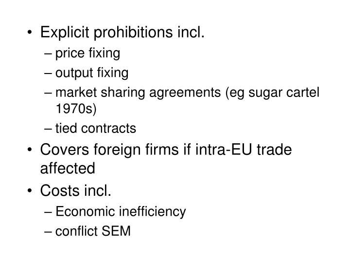 Explicit prohibitions incl.