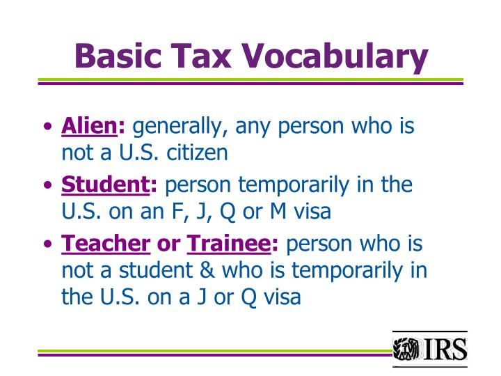 Basic Tax Vocabulary
