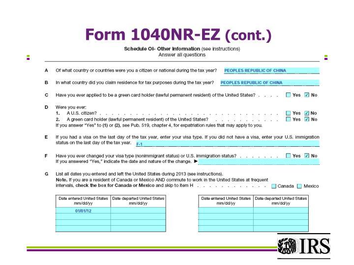 Form 1040NR-EZ