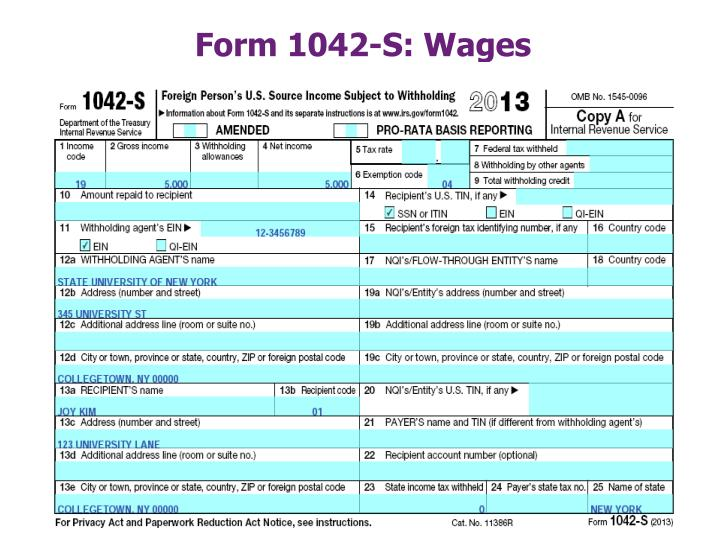 Form 1042-S: Wages