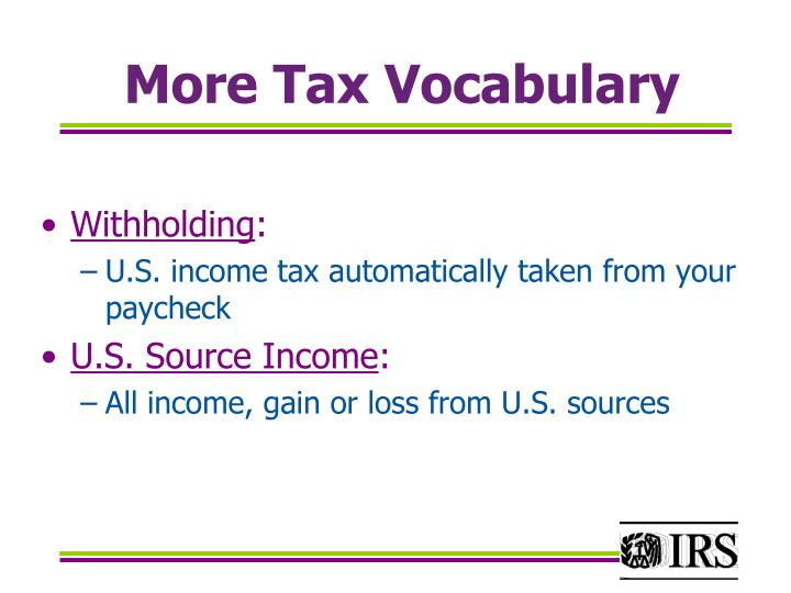 More Tax Vocabulary
