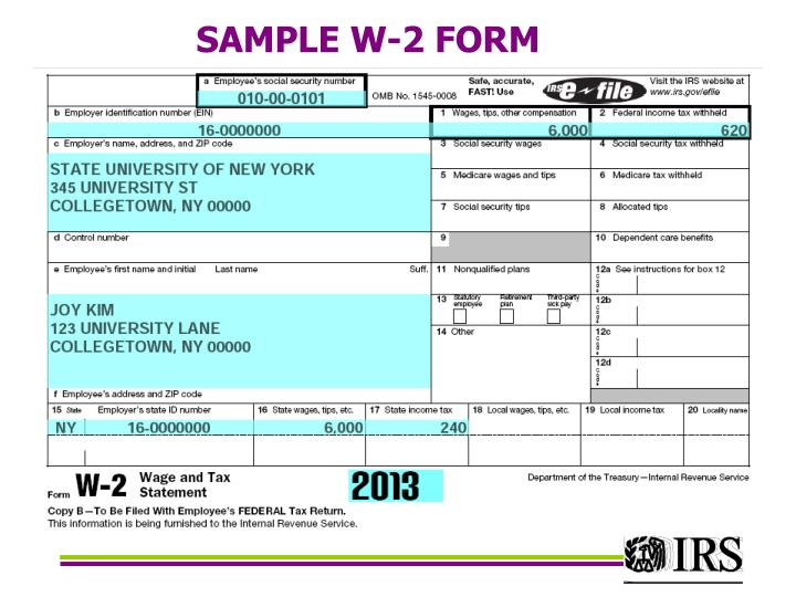 SAMPLE W-2 FORM