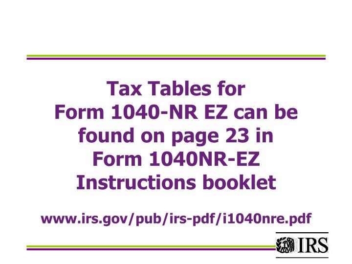 Tax Tables for