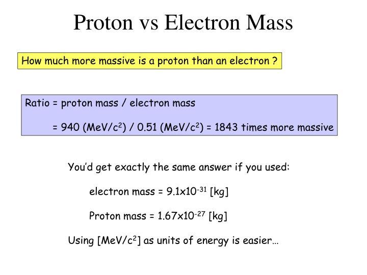 Proton vs Electron Mass