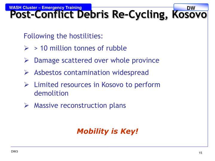 Post-Conflict Debris Re-Cycling, Kosovo