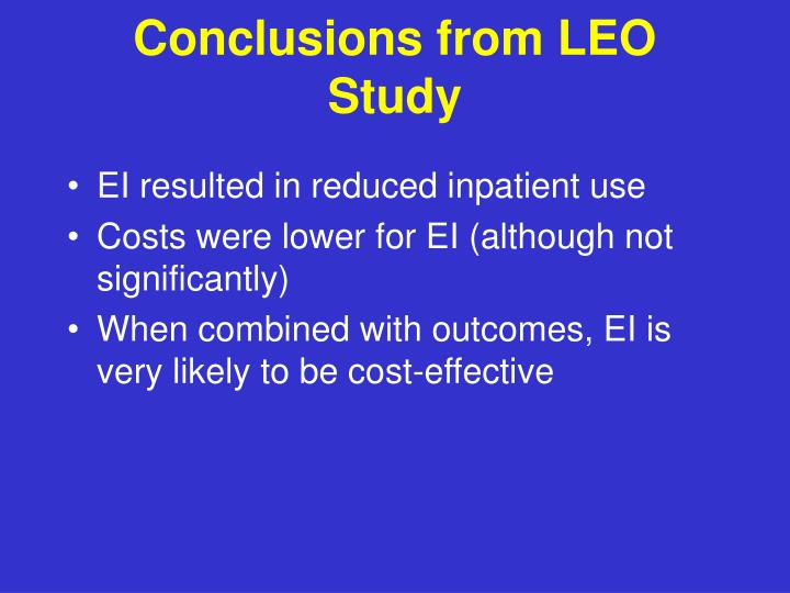 Conclusions from LEO Study