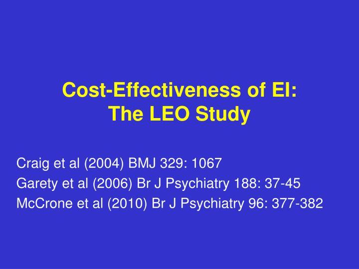 Cost-Effectiveness of EI: