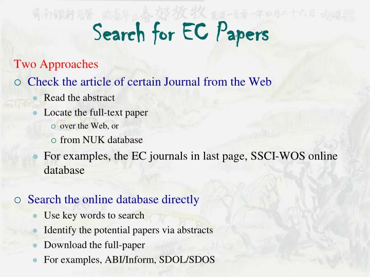 Search for EC Papers