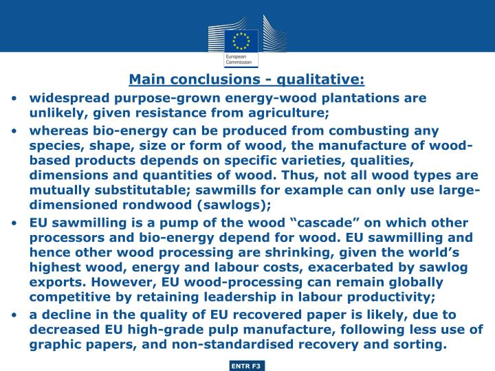 Main conclusions - qualitative:
