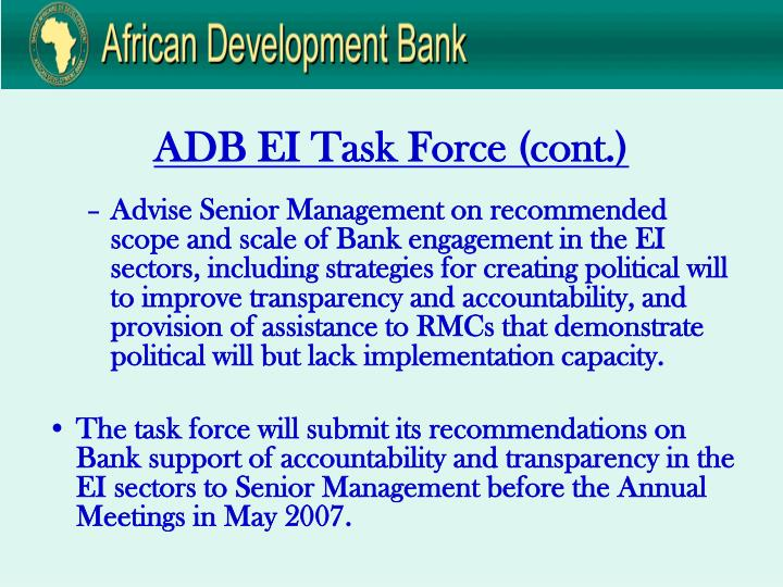 ADB EI Task Force (cont.)