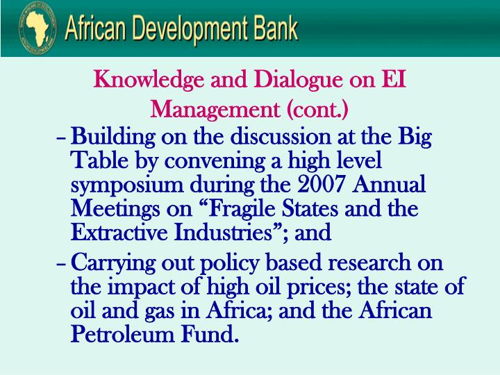Knowledge and Dialogue on EI Management (cont.)