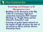 knowledge and dialogue on ei management cont