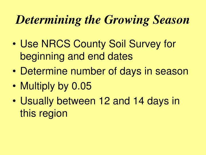 Determining the Growing Season