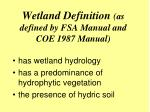 wetland definition as defined by fsa manual and coe 1987 manual