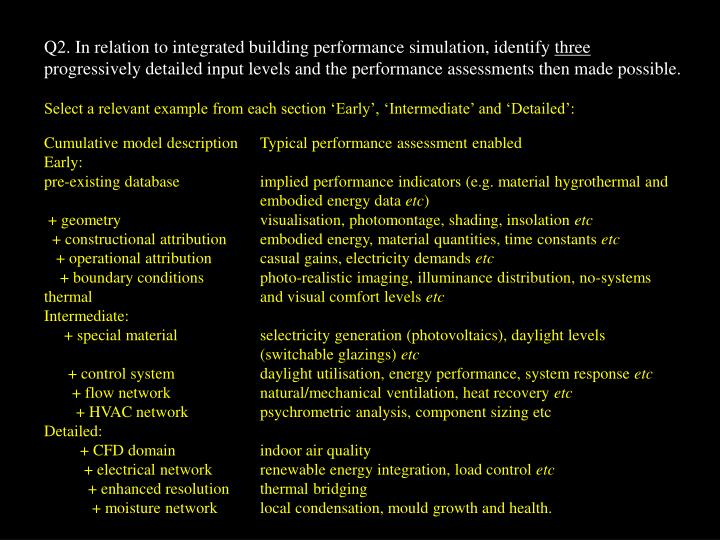 Q2. In relation to integrated building performance simulation, identify