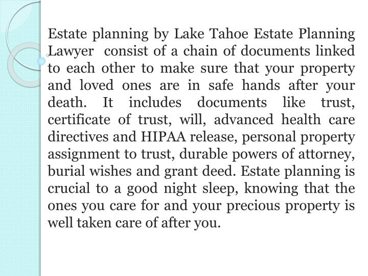 Estate planning by Lake Tahoe Estate Planning Lawyer