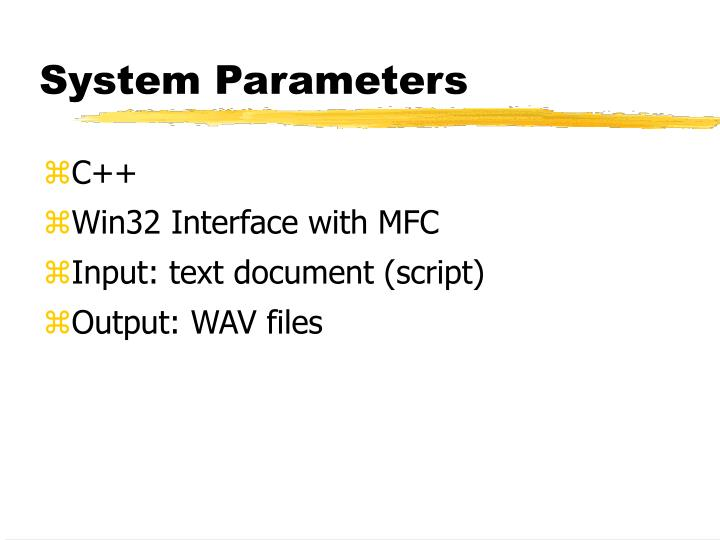 System Parameters