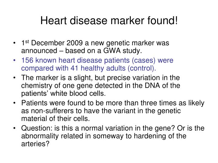 Heart disease marker found!