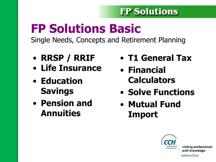 Fp solutions basic single needs concepts and retirement planning