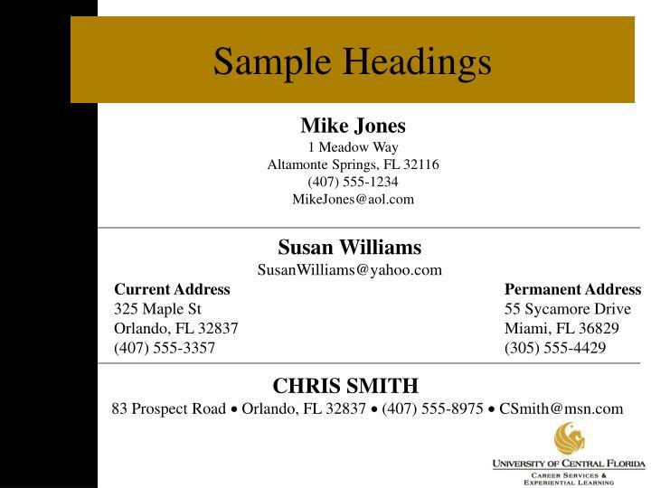 Sample Headings