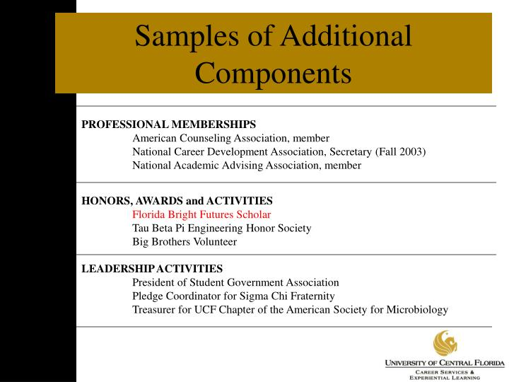 Samples of Additional Components