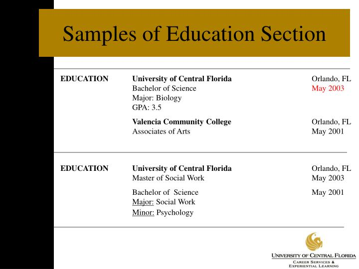 Samples of Education Section