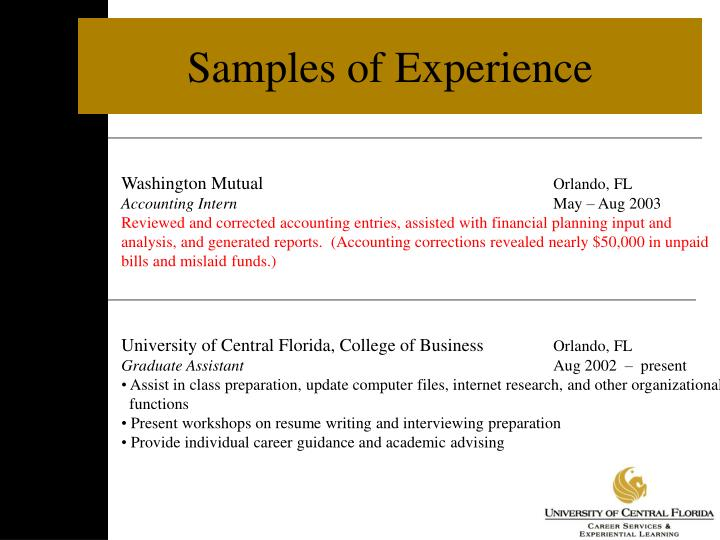 Samples of Experience