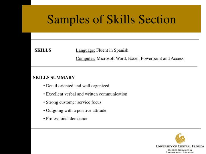Samples of Skills Section