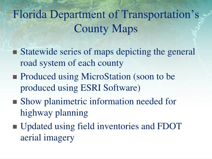 Florida Department of Transportation's County Maps