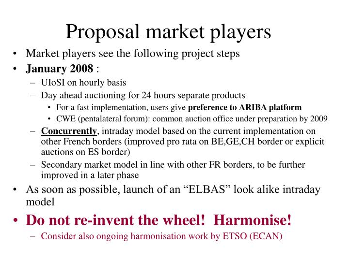 Proposal market players