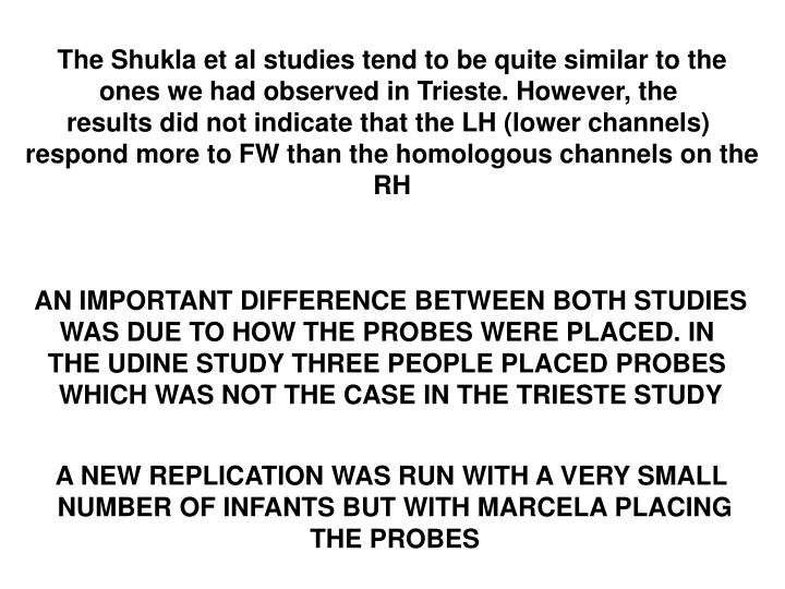The Shukla et al studies tend to be quite similar to the