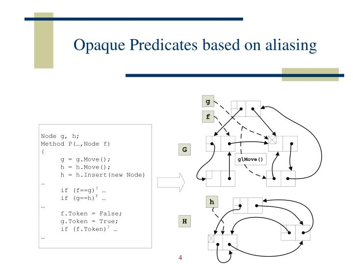 Opaque Predicates based on aliasing