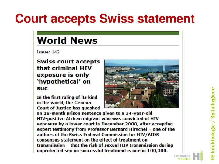 Court accepts Swiss statement