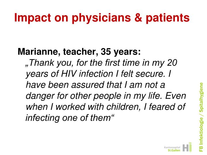 Impact on physicians & patients