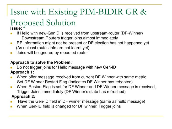 Issue with Existing PIM-BIDIR GR & Proposed Solution