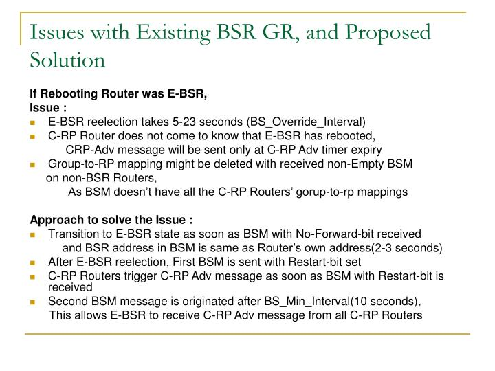 Issues with existing bsr gr and proposed solution