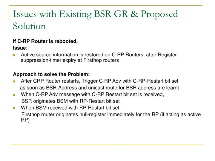 Issues with Existing BSR GR & Proposed Solution