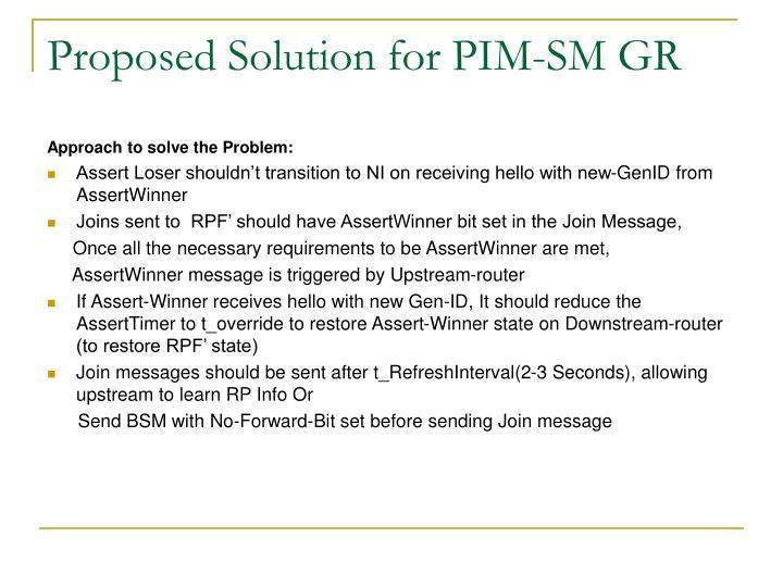 Proposed Solution for PIM-SM GR