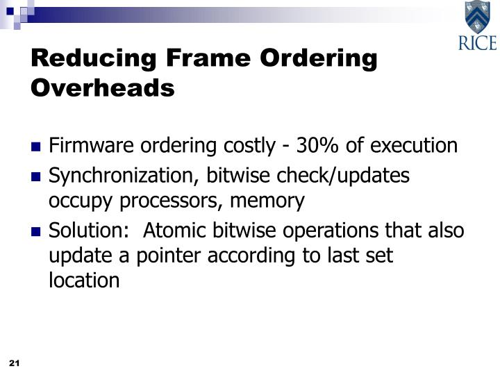 Reducing Frame Ordering Overheads