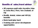 benefits of sales travel advisor